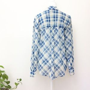 Free People Tops - Free People Blue Sheer Plaid Button Down Blouse